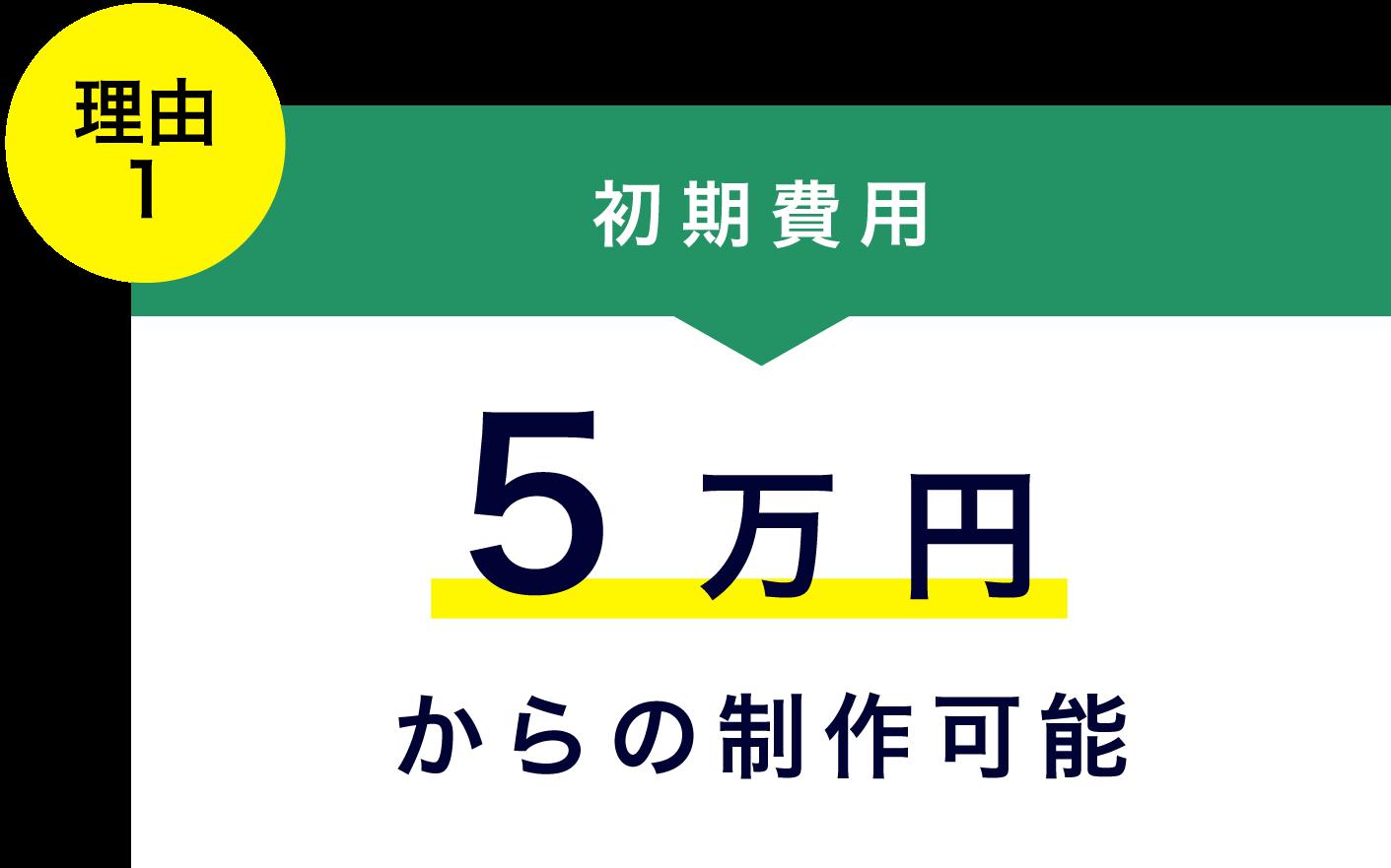 理由1初期費用5万円から制作可能